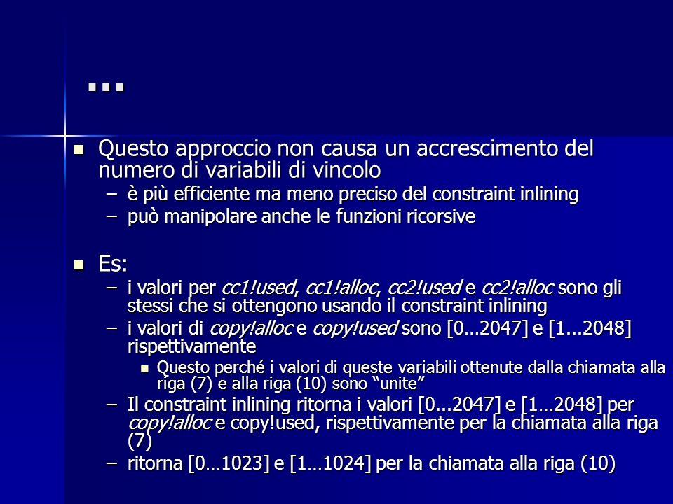 … Questo approccio non causa un accrescimento del numero di variabili di vincolo. è più efficiente ma meno preciso del constraint inlining.