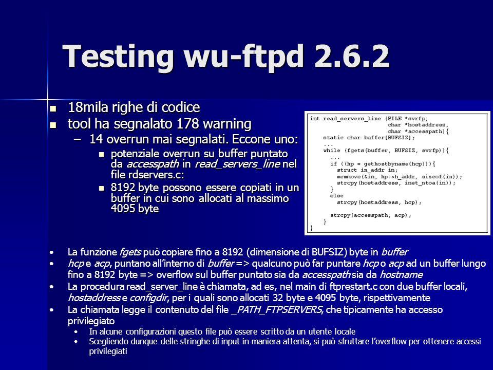 Testing wu-ftpd 2.6.2 18mila righe di codice
