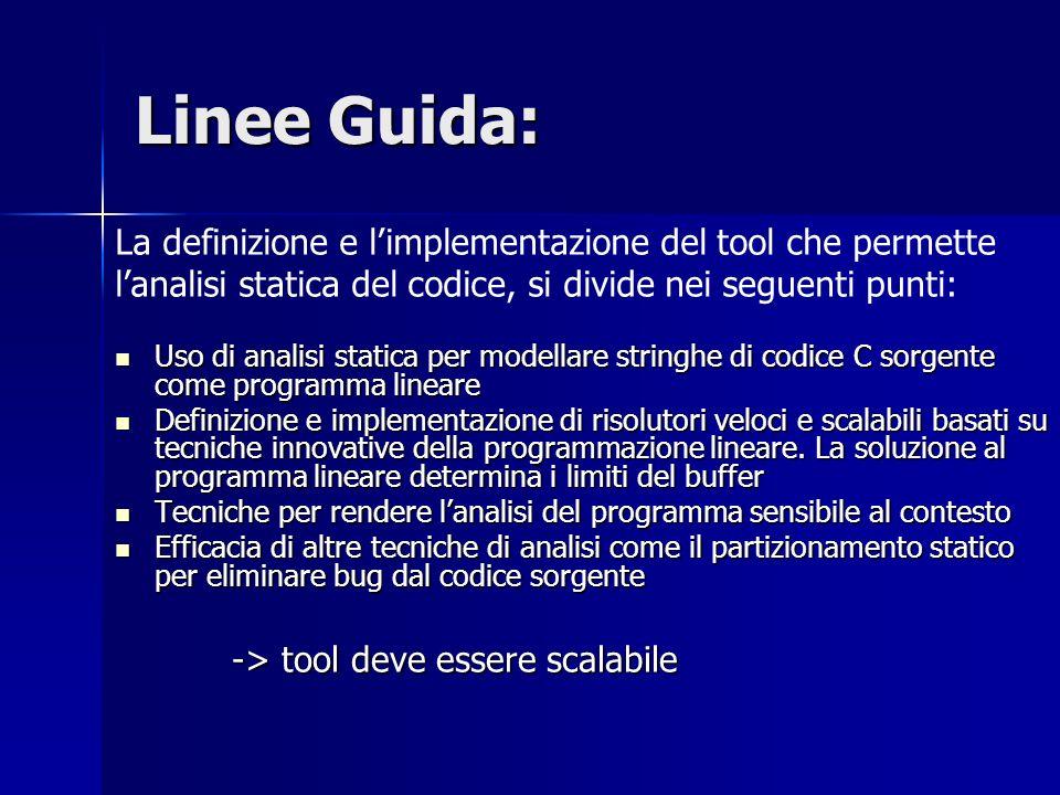 Linee Guida: La definizione e l'implementazione del tool che permette l'analisi statica del codice, si divide nei seguenti punti: