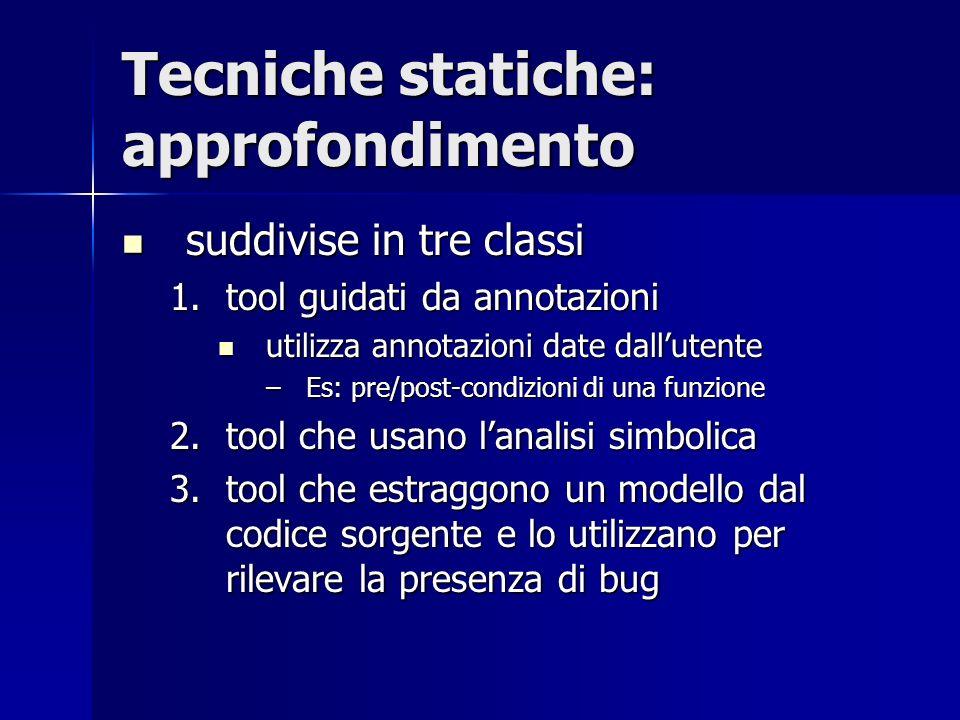 Tecniche statiche: approfondimento