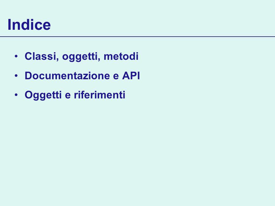 Indice Classi, oggetti, metodi Documentazione e API