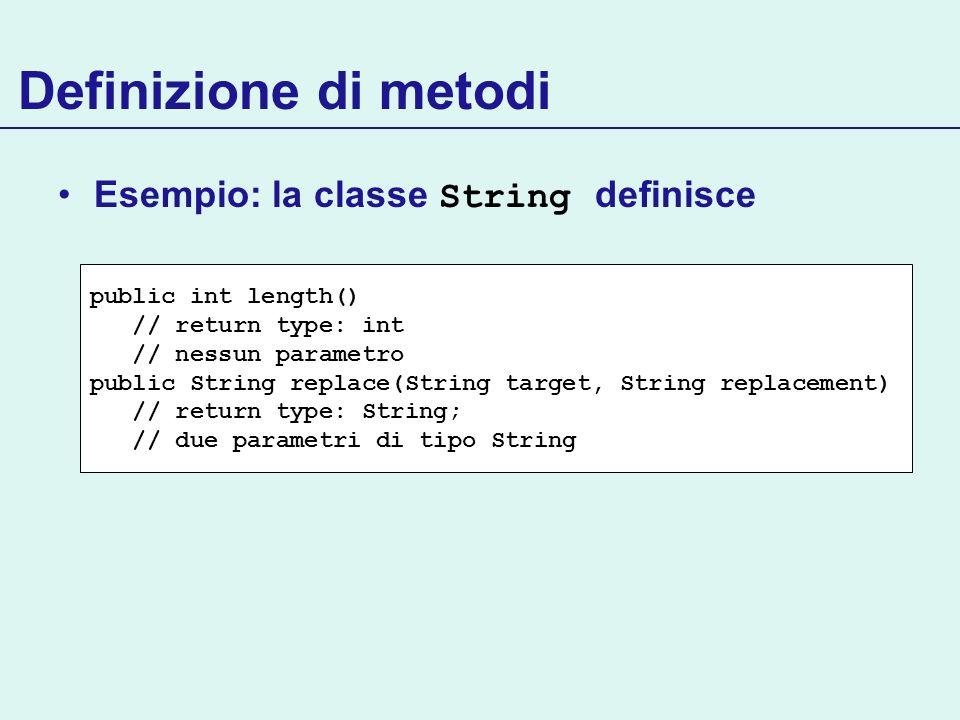 Definizione di metodi Esempio: la classe String definisce
