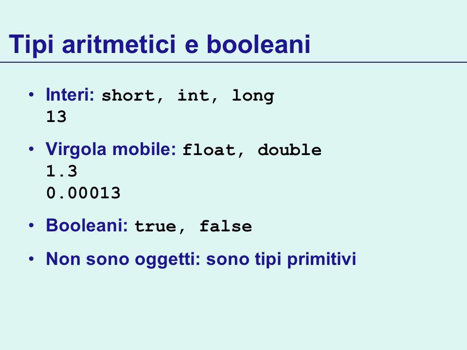 Tipi aritmetici e booleani