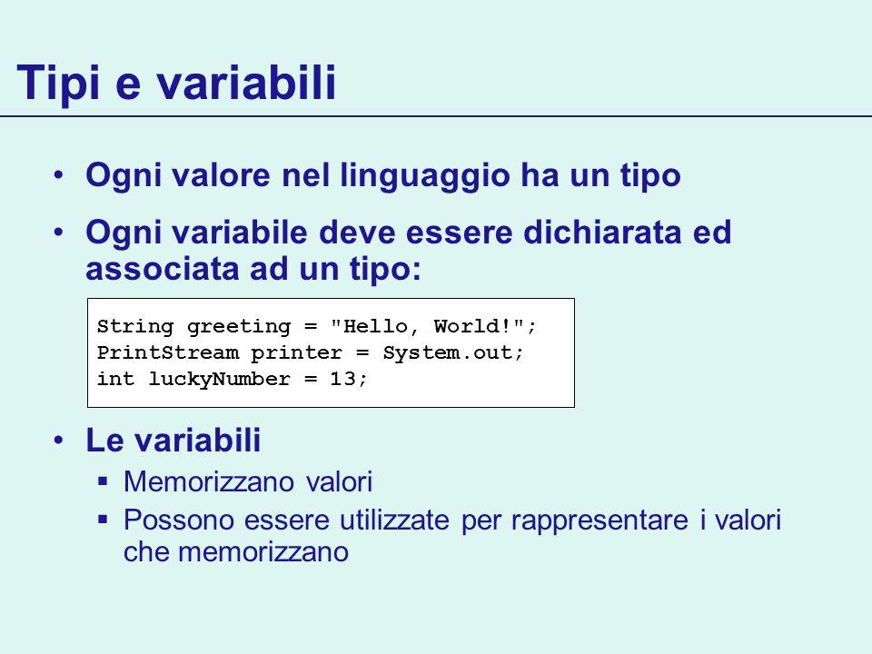 Tipi e variabili Ogni valore nel linguaggio ha un tipo