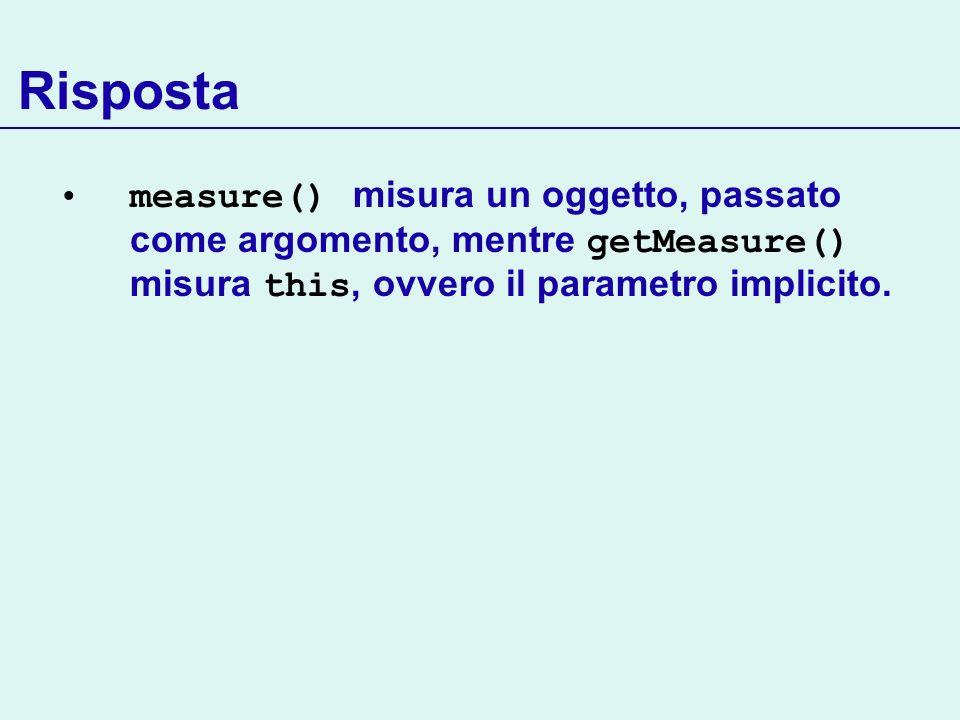 Risposta measure() misura un oggetto, passato come argomento, mentre getMeasure() misura this, ovvero il parametro implicito.