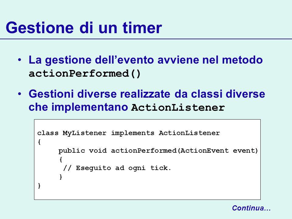 Gestione di un timer La gestione dell'evento avviene nel metodo actionPerformed()