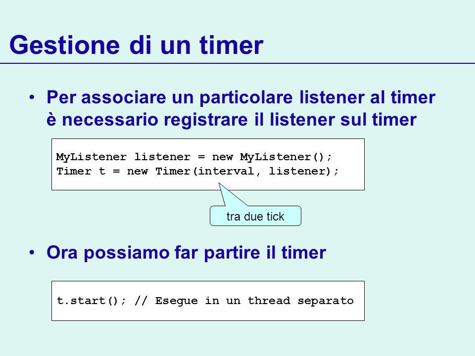 Gestione di un timer Per associare un particolare listener al timer è necessario registrare il listener sul timer.