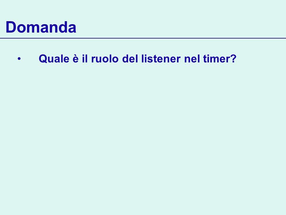 Domanda Quale è il ruolo del listener nel timer