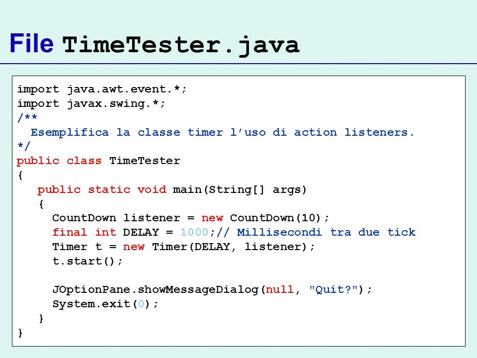 File TimeTester.java import java.awt.event.*; import javax.swing.*;