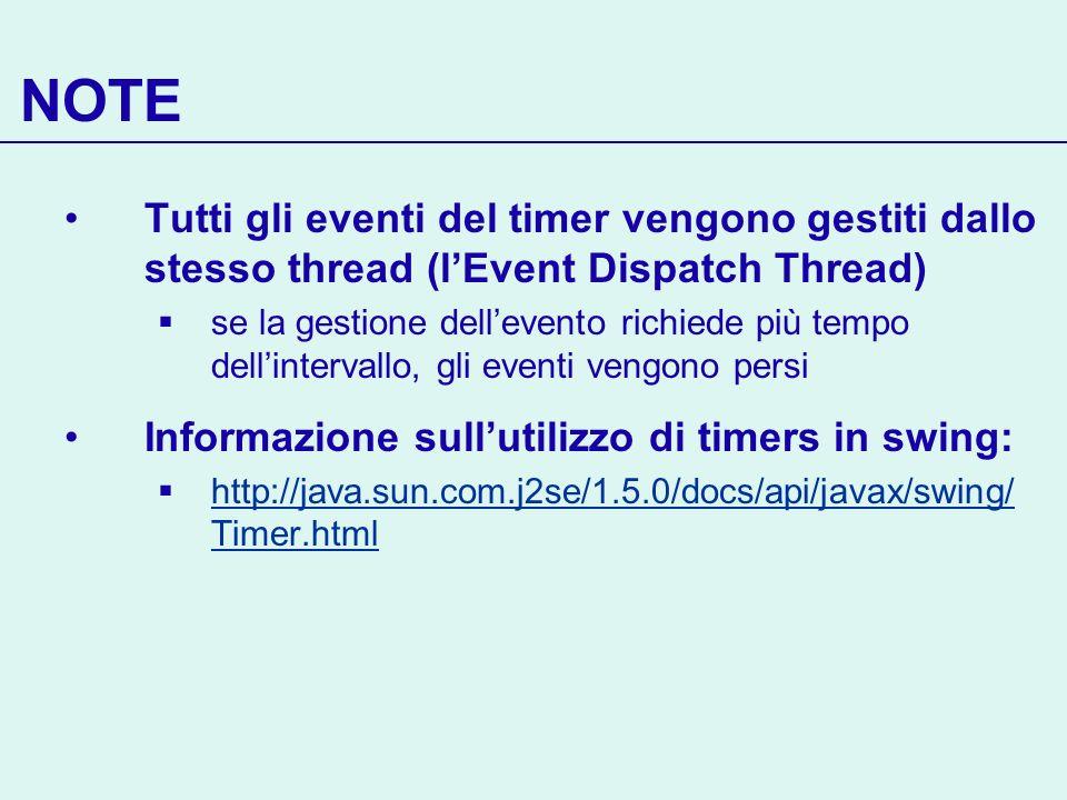 NOTE Tutti gli eventi del timer vengono gestiti dallo stesso thread (l'Event Dispatch Thread)