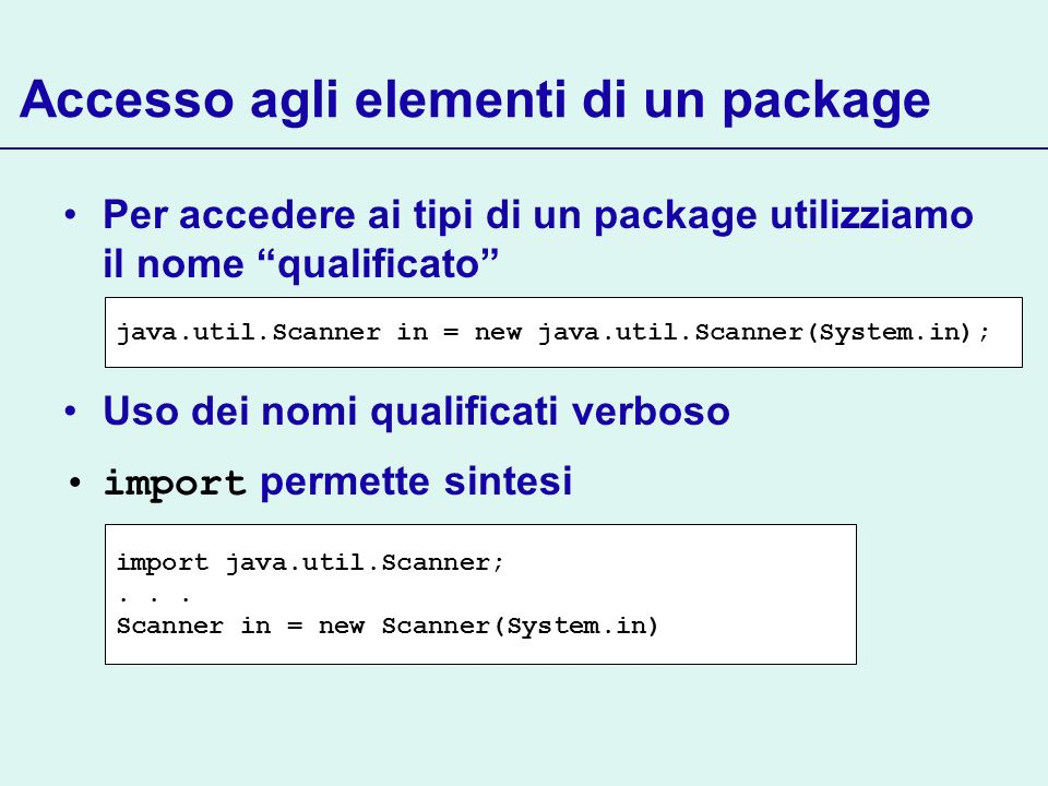 Accesso agli elementi di un package