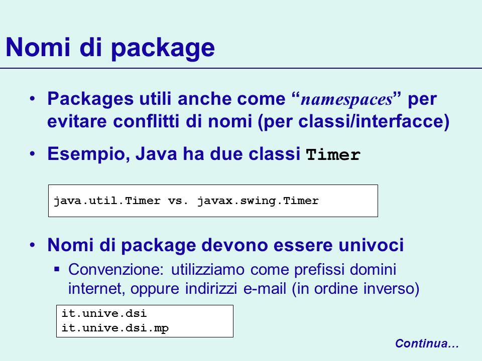Nomi di package Packages utili anche come namespaces per evitare conflitti di nomi (per classi/interfacce)
