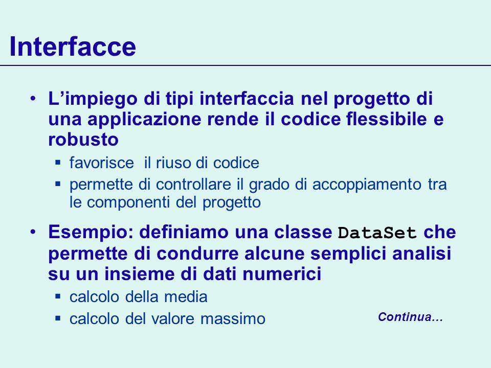 Interfacce L'impiego di tipi interfaccia nel progetto di una applicazione rende il codice flessibile e robusto.