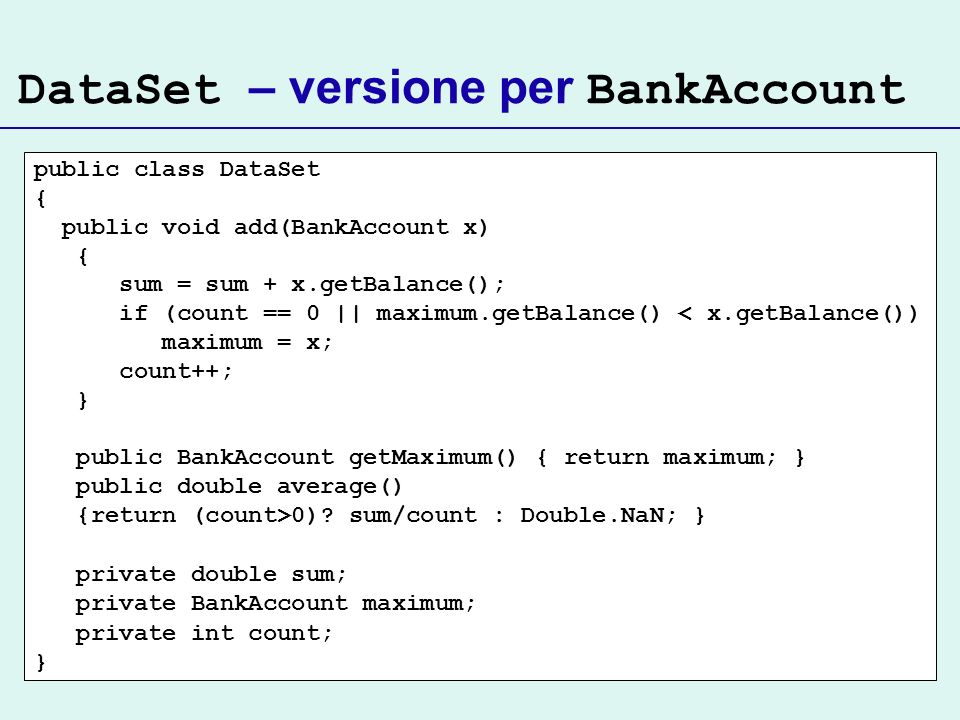 DataSet – versione per BankAccount