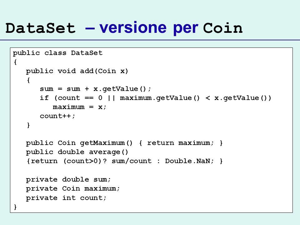 DataSet – versione per Coin