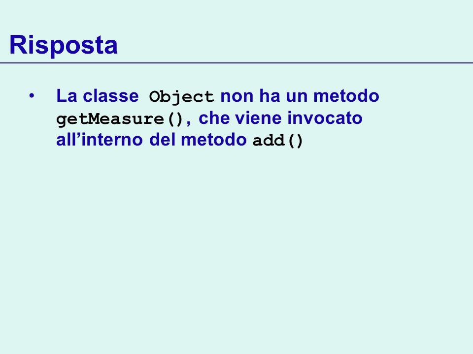 Risposta La classe Object non ha un metodo getMeasure(), che viene invocato all'interno del metodo add()