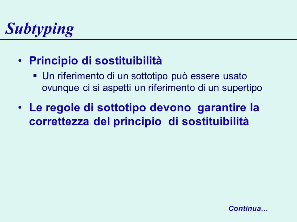 Subtyping Principio di sostituibilità