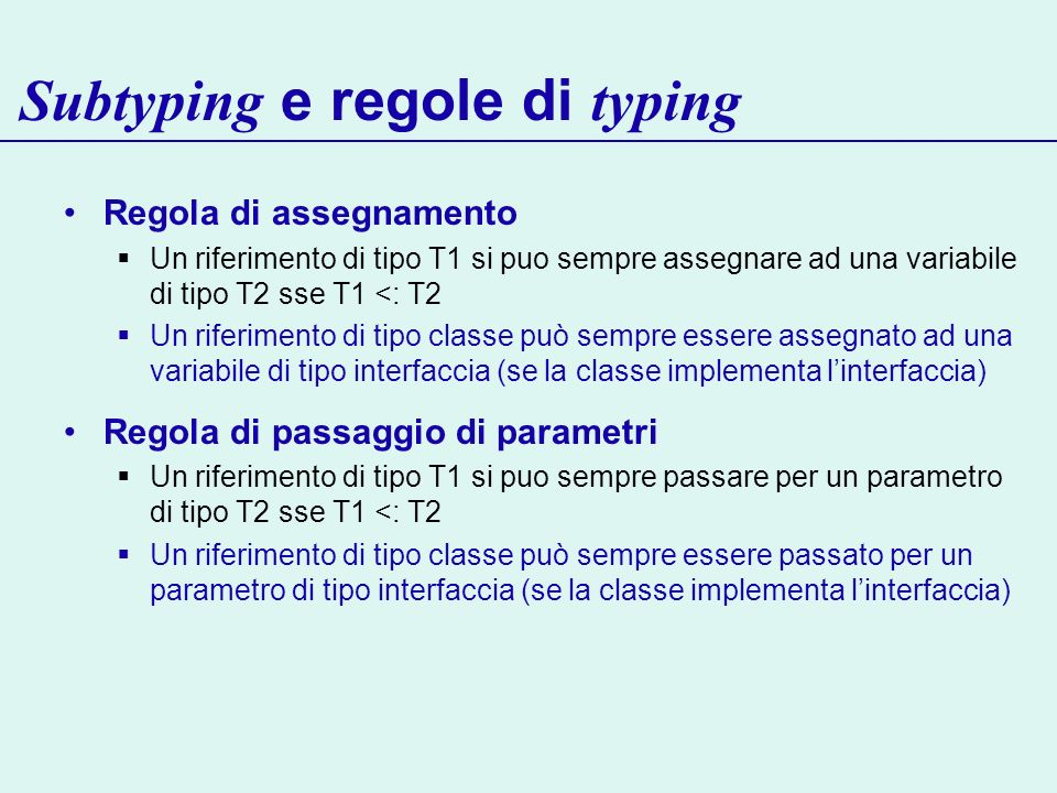 Subtyping e regole di typing