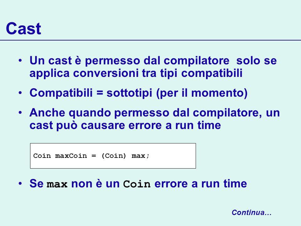 Cast Un cast è permesso dal compilatore solo se applica conversioni tra tipi compatibili. Compatibili = sottotipi (per il momento)