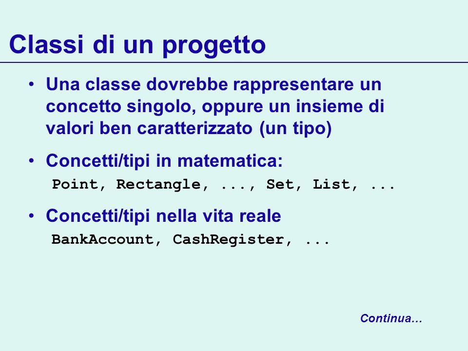 Classi di un progetto Una classe dovrebbe rappresentare un concetto singolo, oppure un insieme di valori ben caratterizzato (un tipo)
