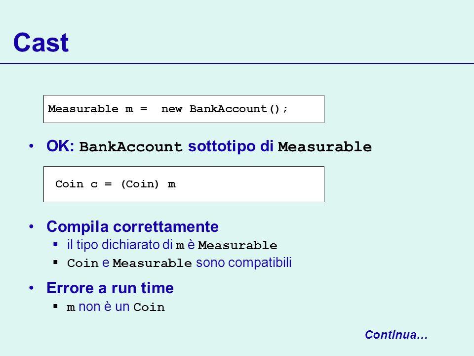 Cast OK: BankAccount sottotipo di Measurable Compila correttamente