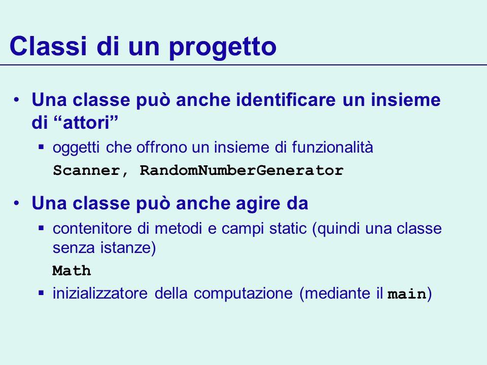 Classi di un progettoUna classe può anche identificare un insieme di attori oggetti che offrono un insieme di funzionalità.