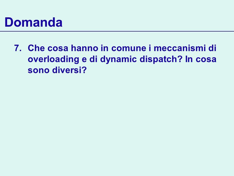 Domanda Che cosa hanno in comune i meccanismi di overloading e di dynamic dispatch.