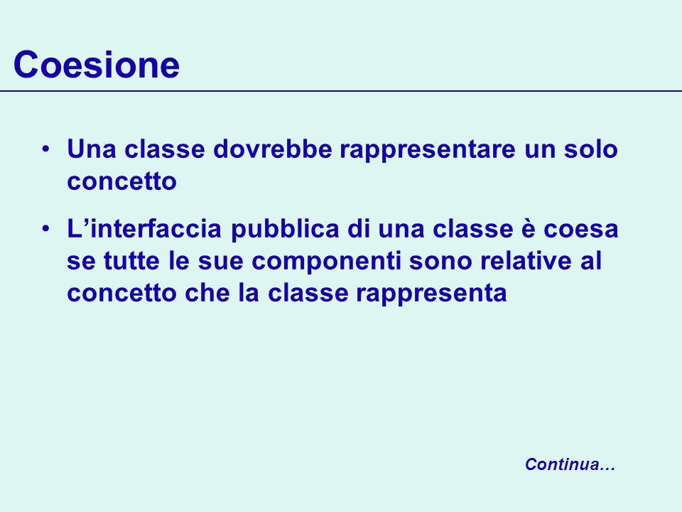 Coesione Una classe dovrebbe rappresentare un solo concetto