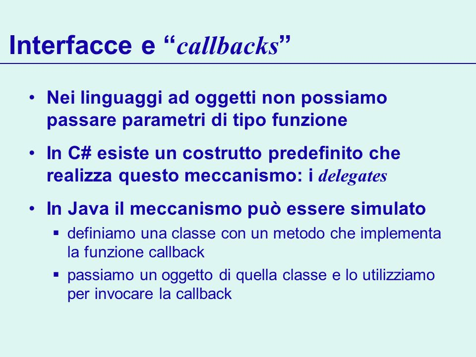 Interfacce e callbacks