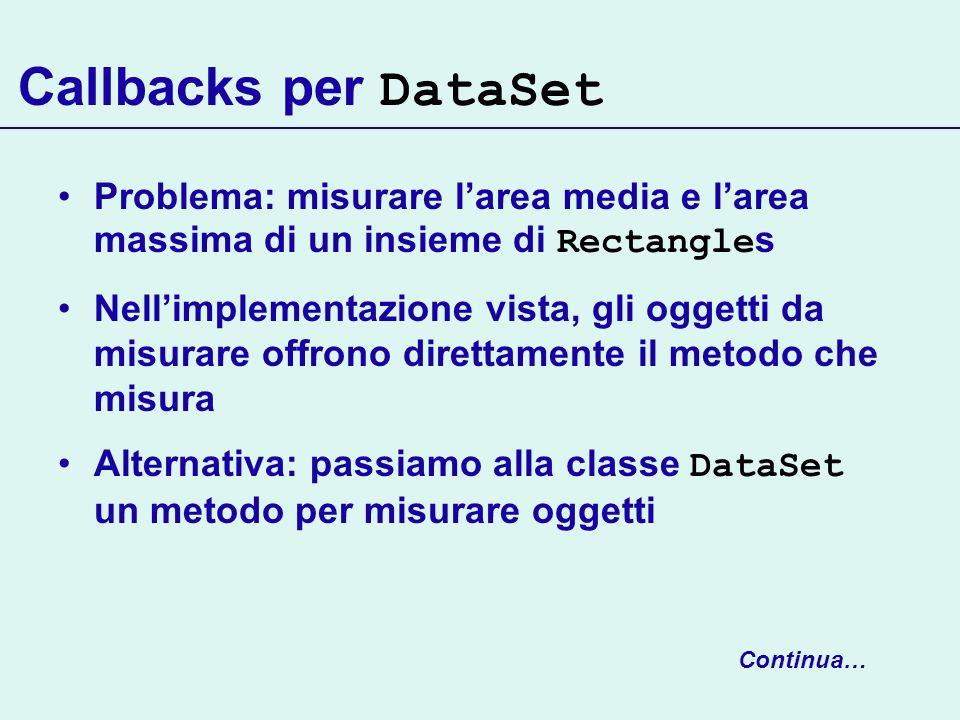 Callbacks per DataSet Problema: misurare l'area media e l'area massima di un insieme di Rectangles.