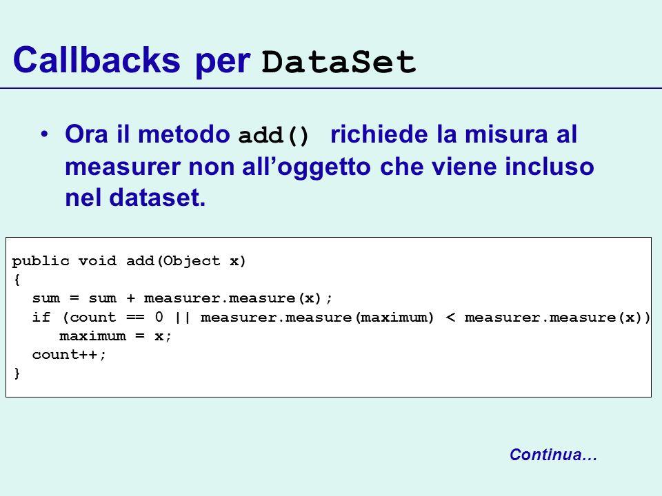 Callbacks per DataSet Ora il metodo add() richiede la misura al measurer non all'oggetto che viene incluso nel dataset.