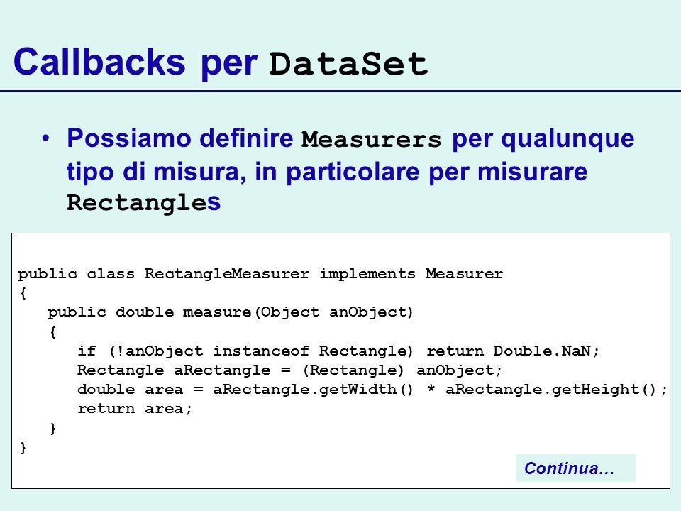 Callbacks per DataSet Possiamo definire Measurers per qualunque tipo di misura, in particolare per misurare Rectangles.