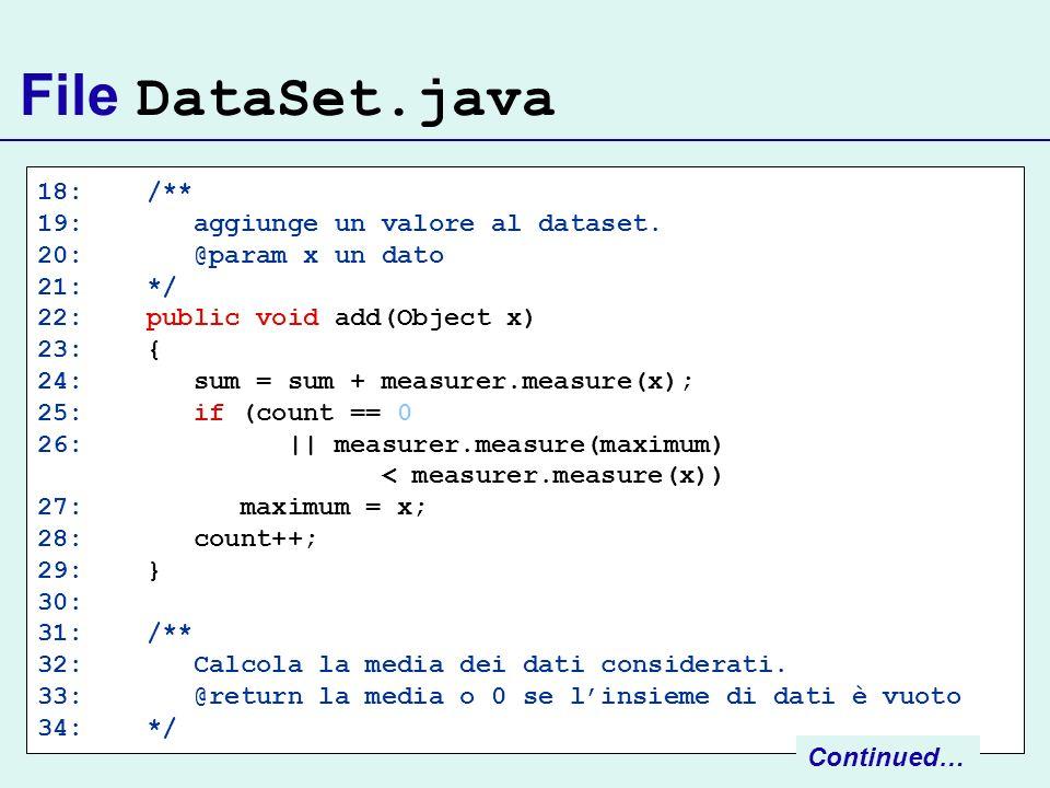File DataSet.java 18: /** 19: aggiunge un valore al dataset.