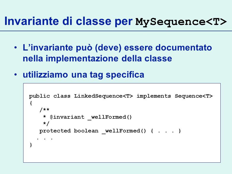 Invariante di classe per MySequence<T>