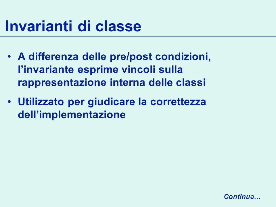 Invarianti di classe A differenza delle pre/post condizioni, l'invariante esprime vincoli sulla rappresentazione interna delle classi.