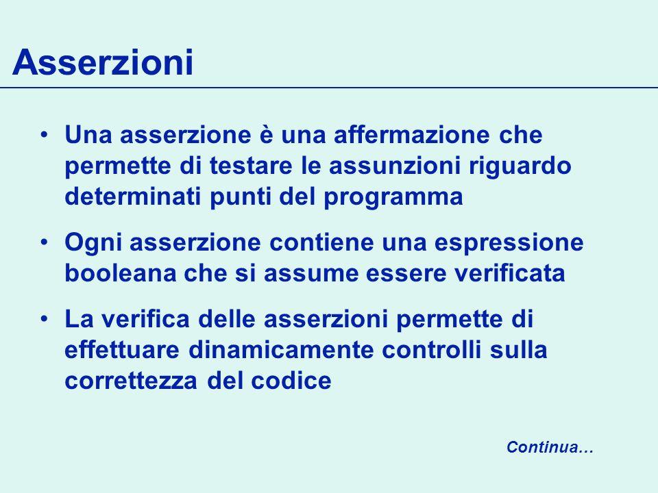 Asserzioni Una asserzione è una affermazione che permette di testare le assunzioni riguardo determinati punti del programma.