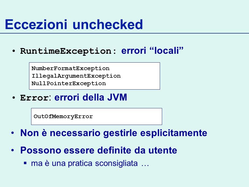 Eccezioni unchecked RuntimeException: errori locali
