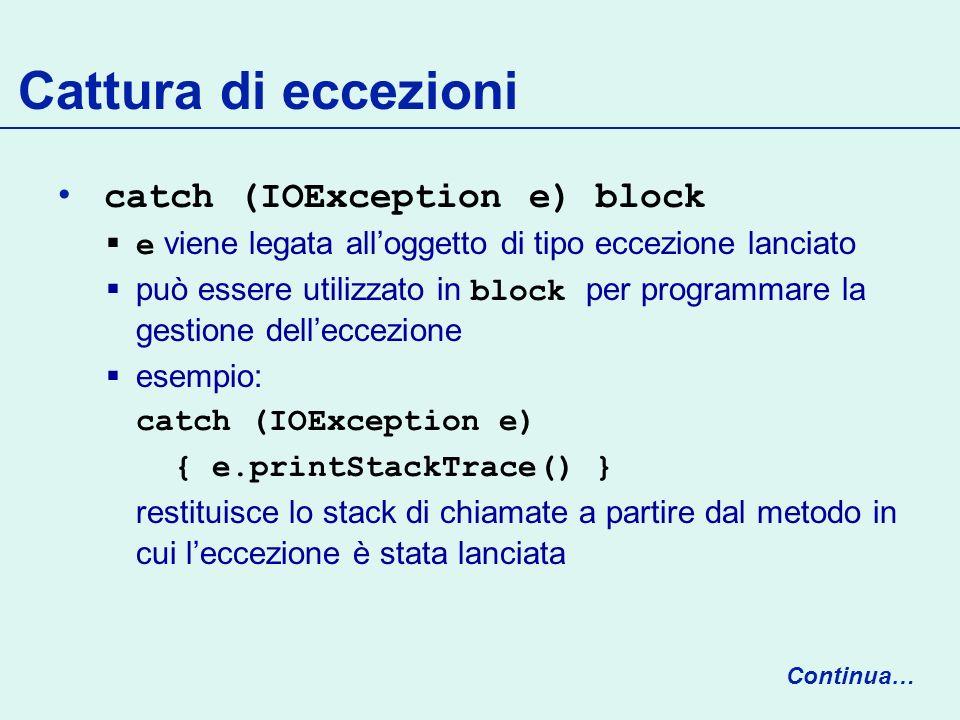 Cattura di eccezioni catch (IOException e) block