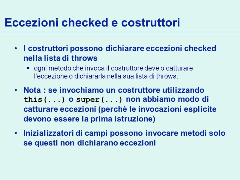 Eccezioni checked e costruttori