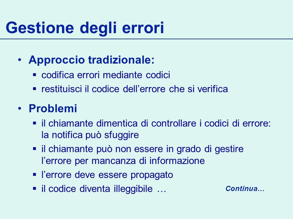 Gestione degli errori Approccio tradizionale: Problemi