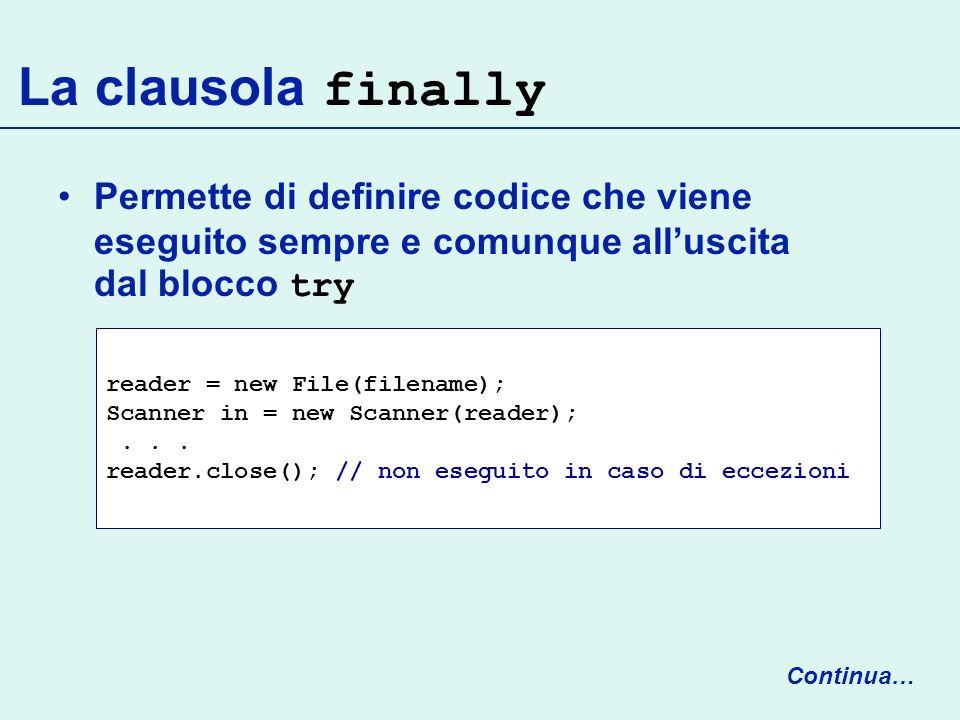 La clausola finally Permette di definire codice che viene eseguito sempre e comunque all'uscita dal blocco try.