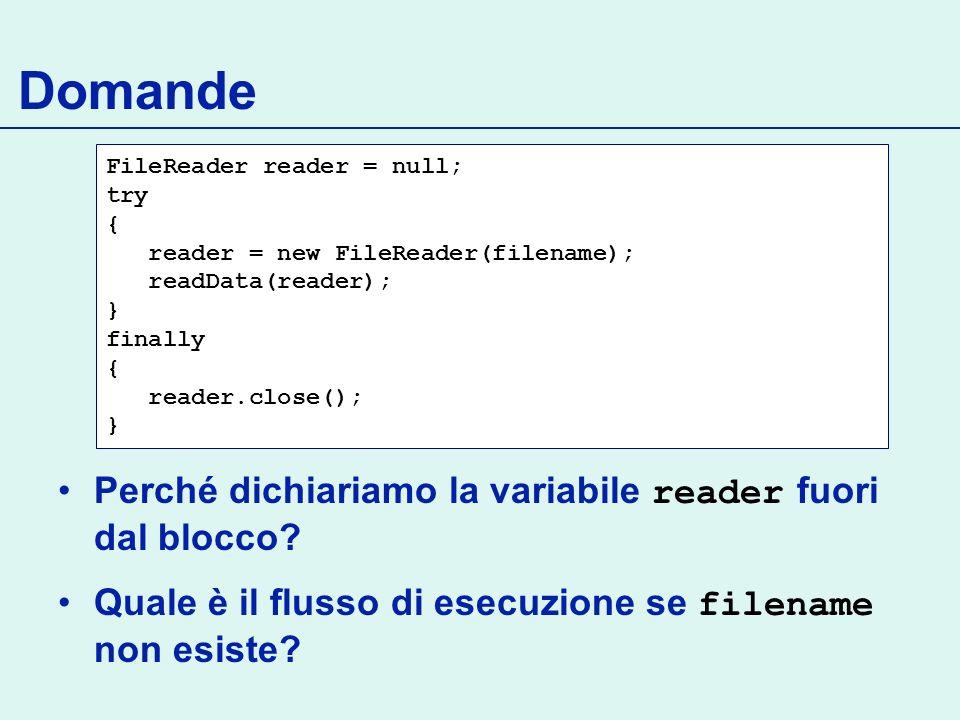 Domande Perché dichiariamo la variabile reader fuori dal blocco
