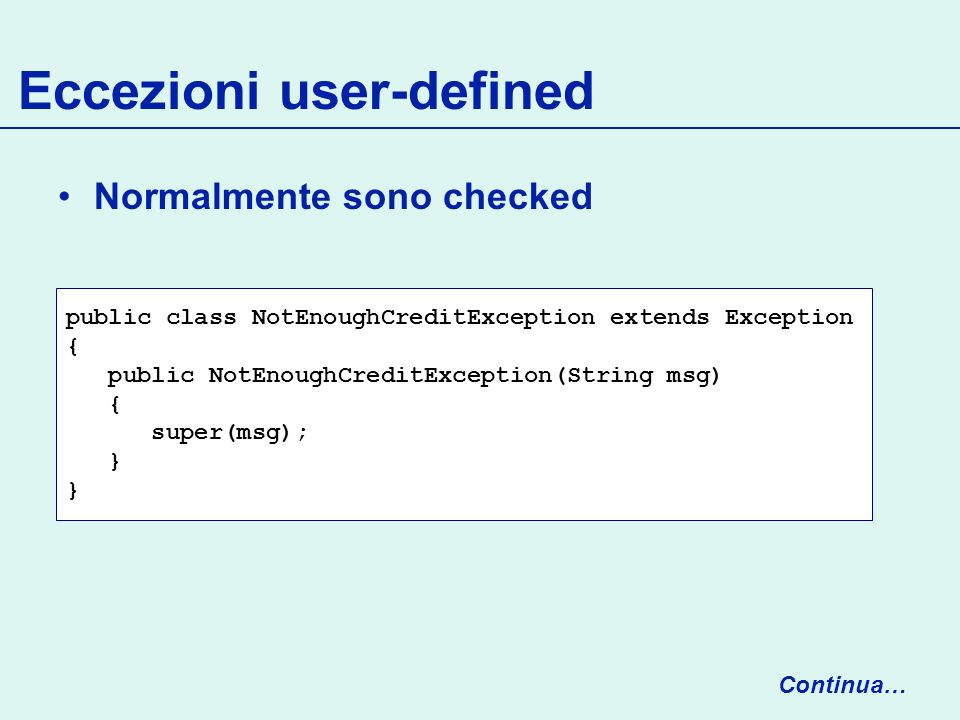 Eccezioni user-defined