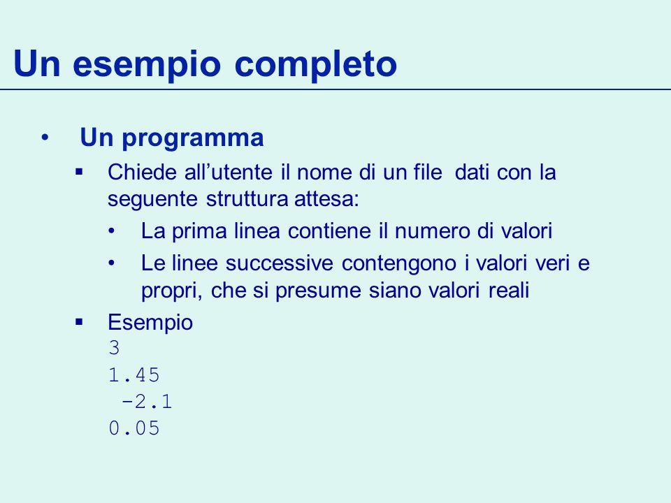 Un esempio completo Un programma