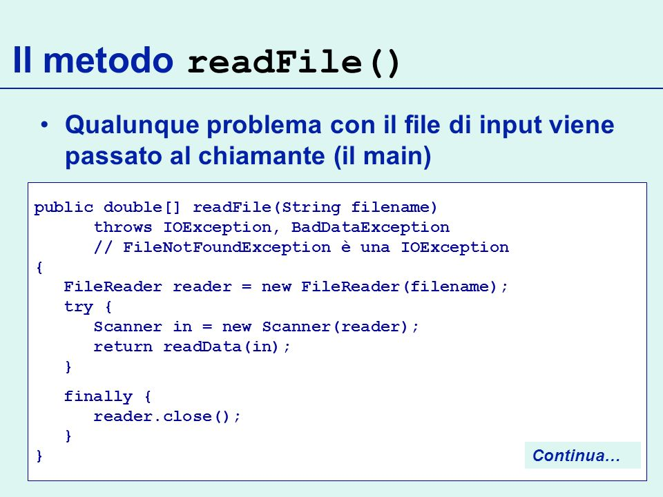 Il metodo readFile() Qualunque problema con il file di input viene passato al chiamante (il main)