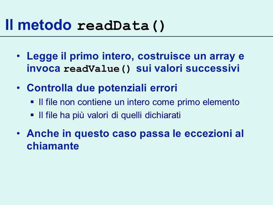 Il metodo readData() Legge il primo intero, costruisce un array e invoca readValue() sui valori successivi.
