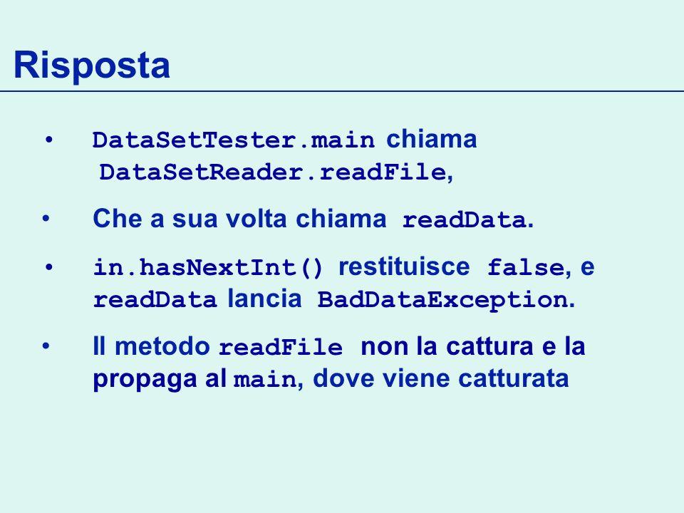 Risposta DataSetTester.main chiama DataSetReader.readFile,