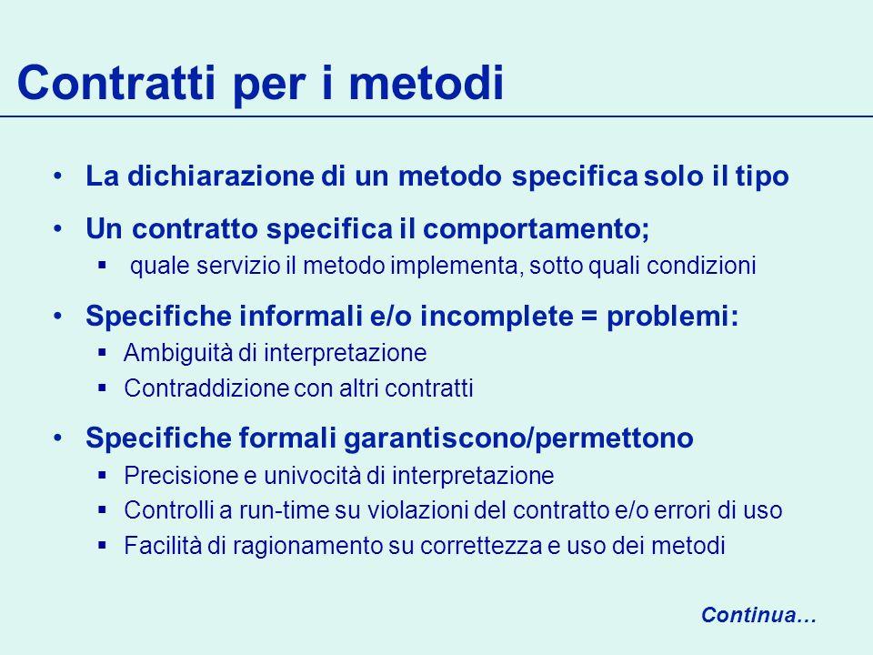 Contratti per i metodi La dichiarazione di un metodo specifica solo il tipo. Un contratto specifica il comportamento;