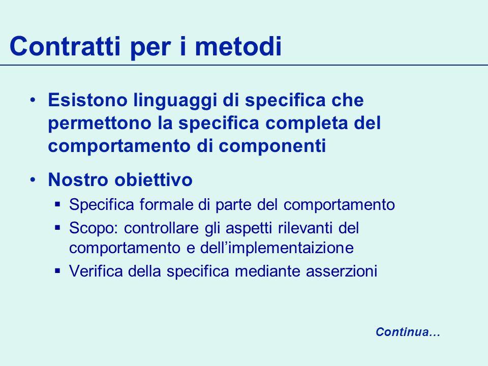 Contratti per i metodi Esistono linguaggi di specifica che permettono la specifica completa del comportamento di componenti.