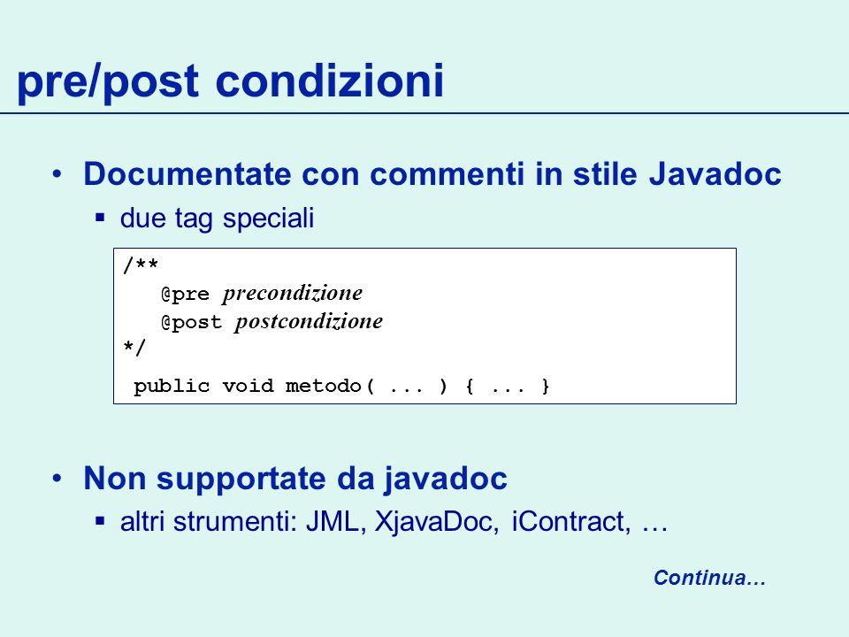 pre/post condizioni Documentate con commenti in stile Javadoc